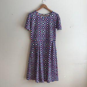 LuLaRoe Geometric Printed Amelia Fit & Flare Dress